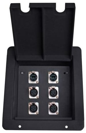 Elite Core Audio FB6-2NE8FD  FB6 Recessed Floor Box with 4XLRF +2 EtherCon Pass-Thru Jacks FB6-2NE8FD