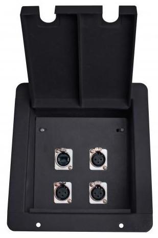 FB4 Recessed Floor Box with 3 XLRF+ EtherCon Pass-Thru Jacks