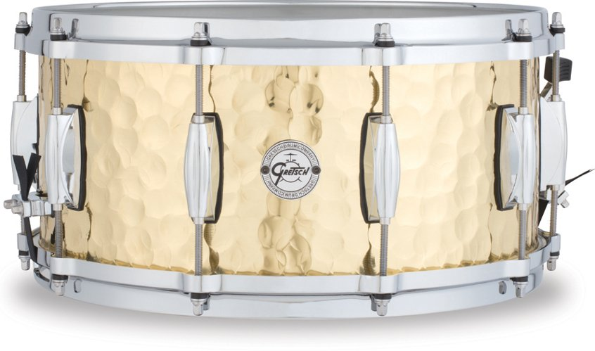 "6.5""x14"" 10 Lug Hammered Brass Snare Drum"