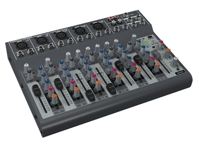 10-Input 2-Bus Mixer with Optional Battery Operation