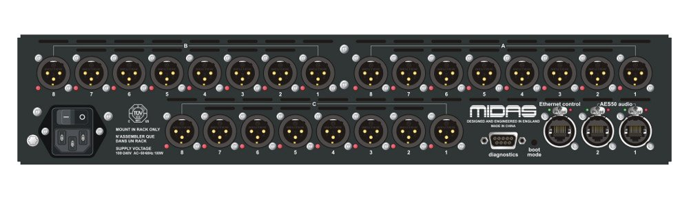 24-Input Stagebox with MIDAS Mic Preamps and Dual-Redundant AES50 Networking