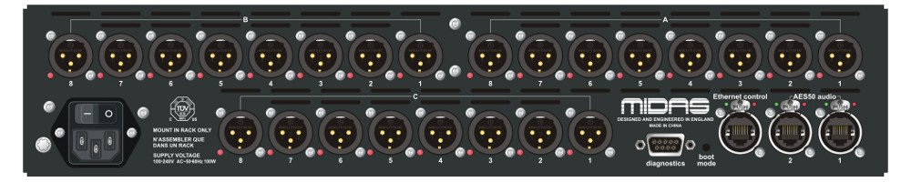 24-Output Stagebox with Dual-Redundant AES50 Networking