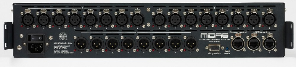 16-Input x 8-Output Stagebox with MIDAS Mic Preamps and Dual-Redundant AES50 Networking