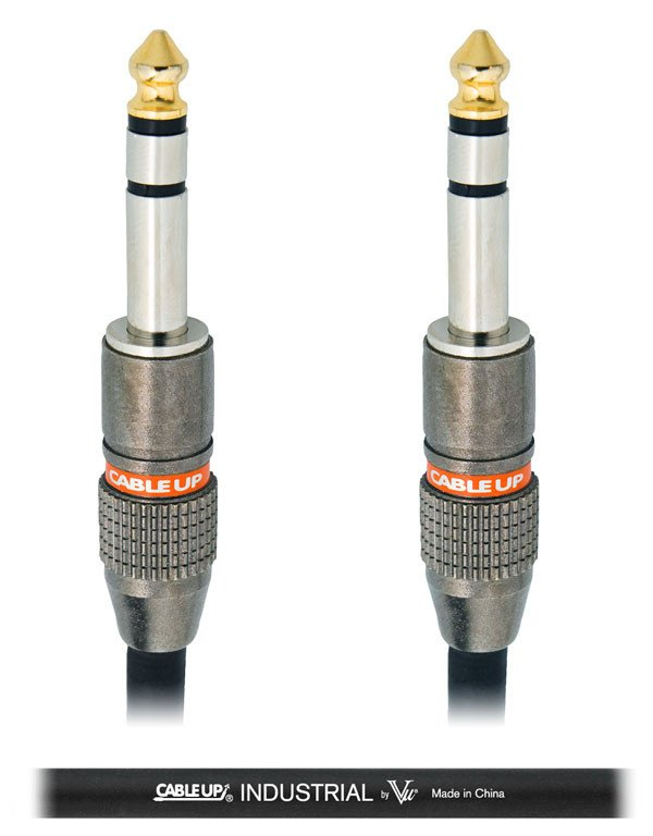 "Cable Up by Vu PM3-PM3-15-BLK 15 ft 1/4"" TRS Male to 1/4"" TRS Male Balanced Cable with Black Jacket PM3-PM3-15-BLK"