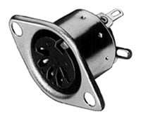 7-Contact Female DIN Receptacle, Chassis / Panel Mount
