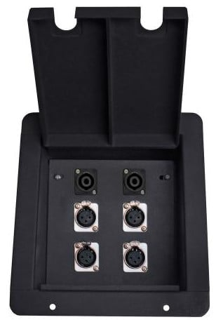 Recessed Floor Box with 4x XLR-F and 2 Speakon Jacks