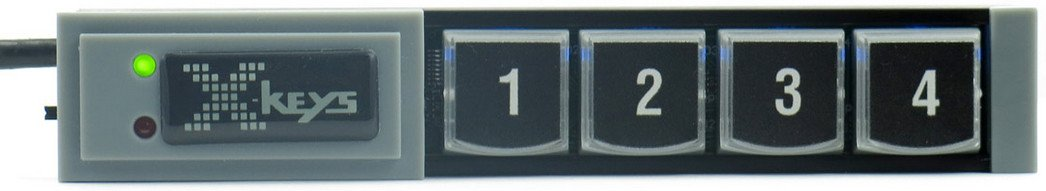 PI Engineering, Inc. X-Keys XK-4 Stick 4-Key Programmable USB Key Stick XKS-04-USB-R