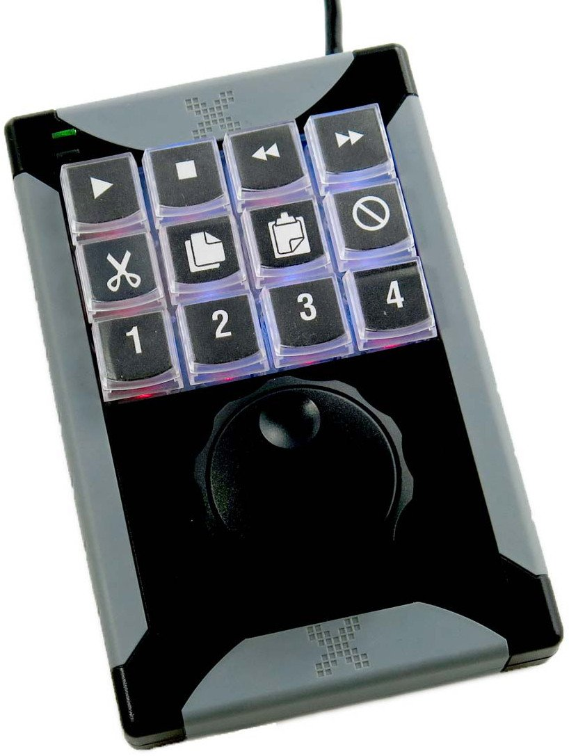 12-Key Programmable USB Keypad with Jog/Shuttle Control Wheel
