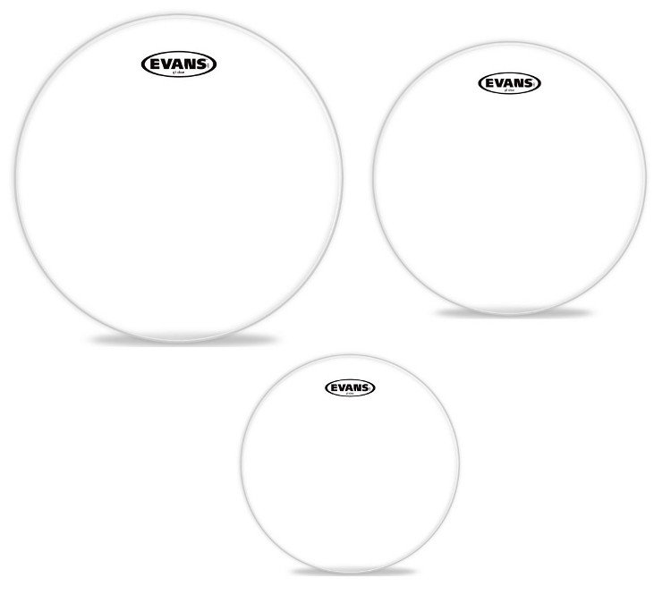 """3-Pack of G1 Clear Tom Tom Drumheads: 10"""",12"""",14"""""""