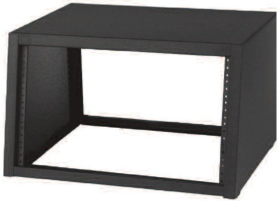 "7RU Sloped DeskTop Rack in Black with 18"" Depth"