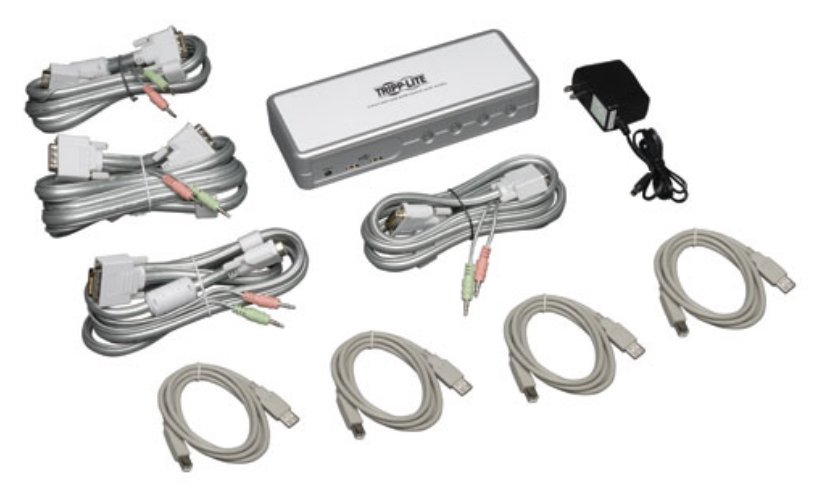 4-Port DVI/USB KVM Switch with Audio and Cables