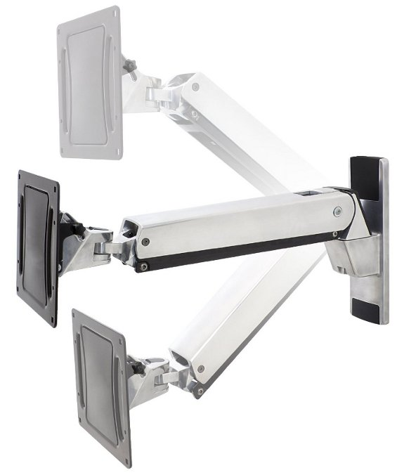 Interactive TV Wall Mount in Polished Aluminum with Black Trim