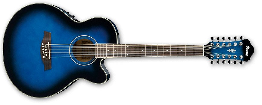 Transparent Blue Sunburst High Gloss AEL Series Cutaway 12-String Electric/Acoustic Guitar with SPT Preamp