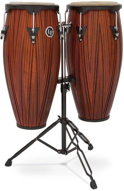 Latin Percussion LP646NY-CMW City Series Carved Mango Wood Congas with Stand LP646NY-CMW