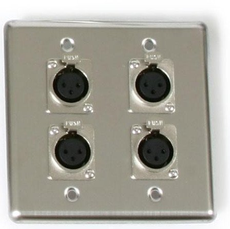 OSP Dual Gang Wall Plate with 4 XLR-F