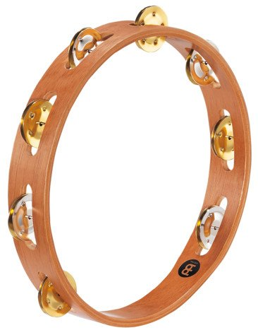 Recording Combo Wood Tambourine with 1 Row of Dual Alloy Jingles