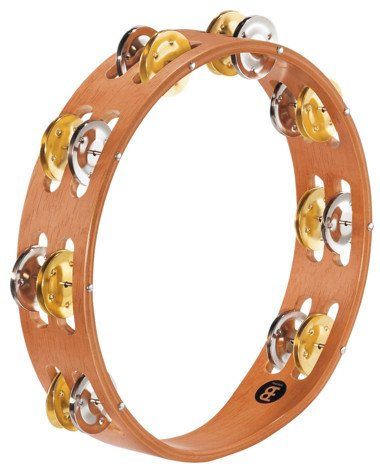 Recording Combo Wood Tambourine with 2 Rows of Dual Alloy Jingles