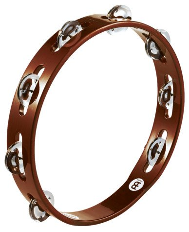 Traditional Wood Tambourine with 1 Row of Steel Jingles in African Brown Finish