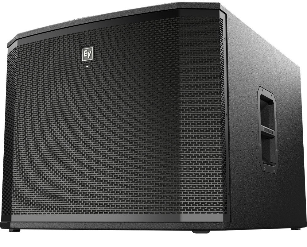 "18"" 1800W Powered Subwoofer with Onboard DSP and Removable Casters"