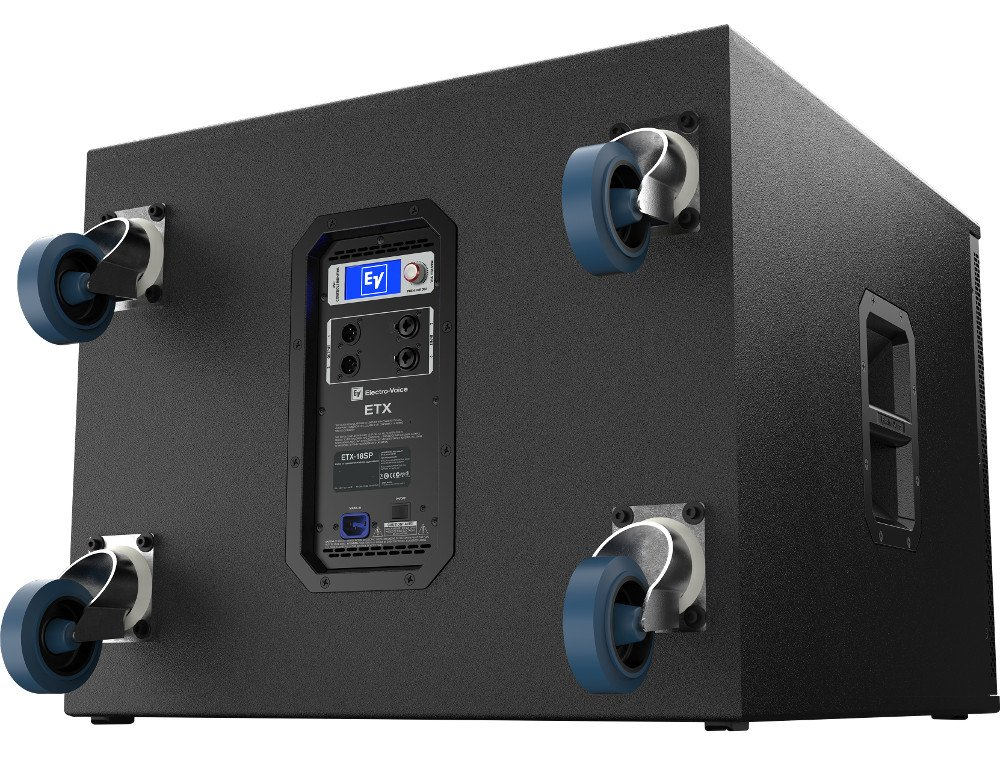 """18"""" 1800W Powered Subwoofer with Onboard DSP and Removable Casters"""