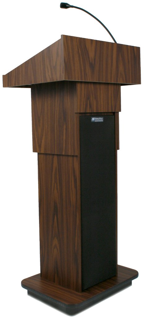 Wireless Executive Adjustable Sound Column Lectern with Handheld Microphone Transmitter