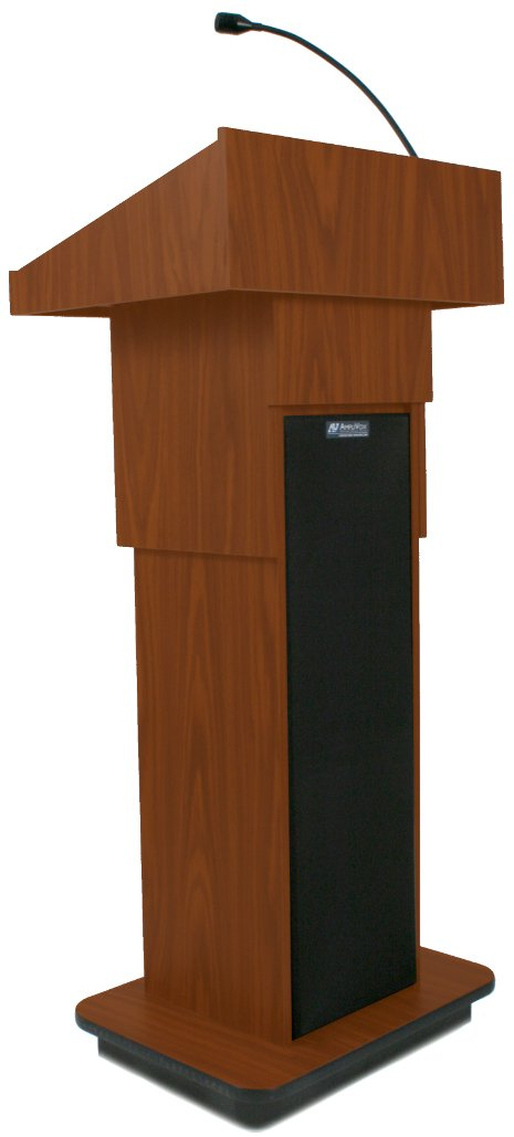 Wireless Executive Adjustable Sound Column Lectern with Headset Microphone Transmitter