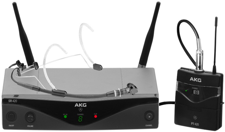 AKG WMS420 Headset Set Wireless Microphone System with C555 L Headworn Condenser Mic WMS420-HEADSET