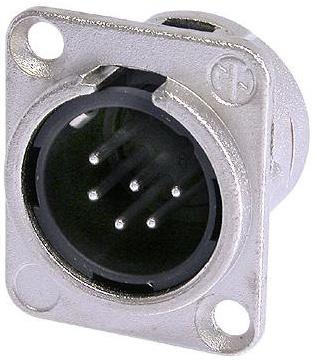 6 Pin XLR Male Panel Receptacle