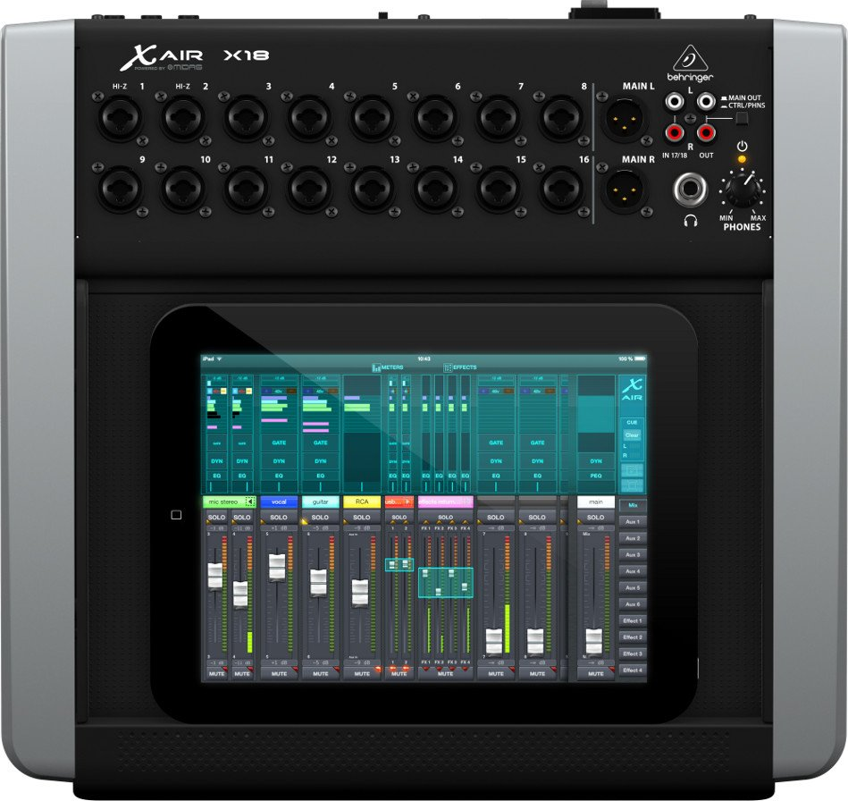 18-Channel 12-Bus Digital Mixer for iPad and Android Tablets