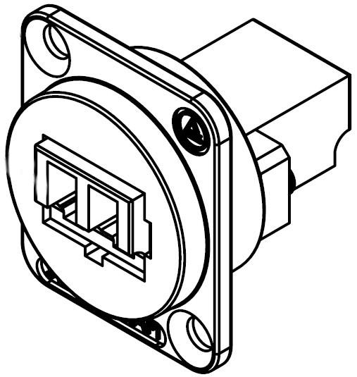 Eh Series Lc Fiber Optic Multi Mode Feed Thru With Black Plastic