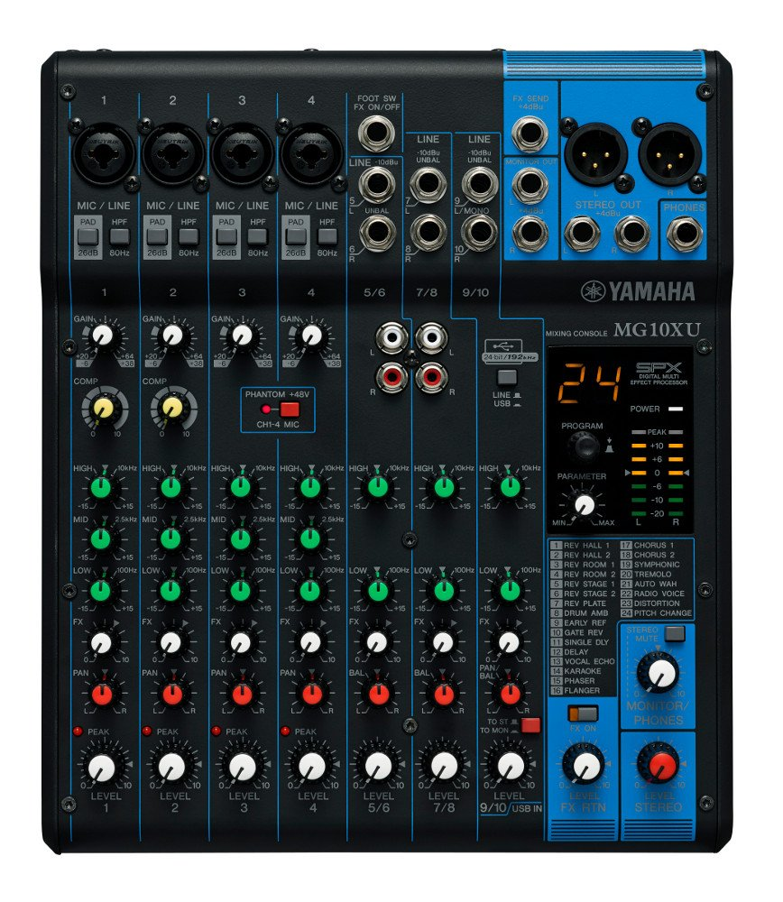 10 Channel Mixer with Effects & USB