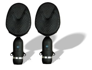 Matched Stereo Pair of Bidirectional Microphones with Stand Adapters and Case