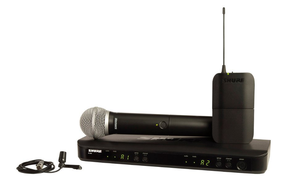 Dual Channel Combo Wireless System with PG8 Handheld and CVL Lavalier Microphones, 602-660 MHz