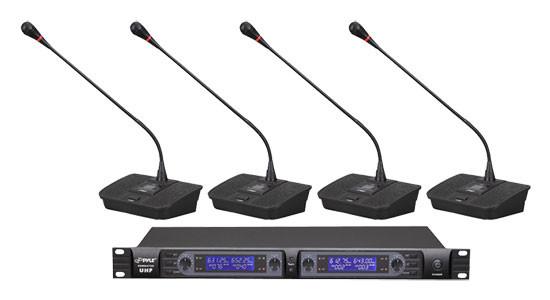 4-Ch Desktop UHF Wireless Microphone System