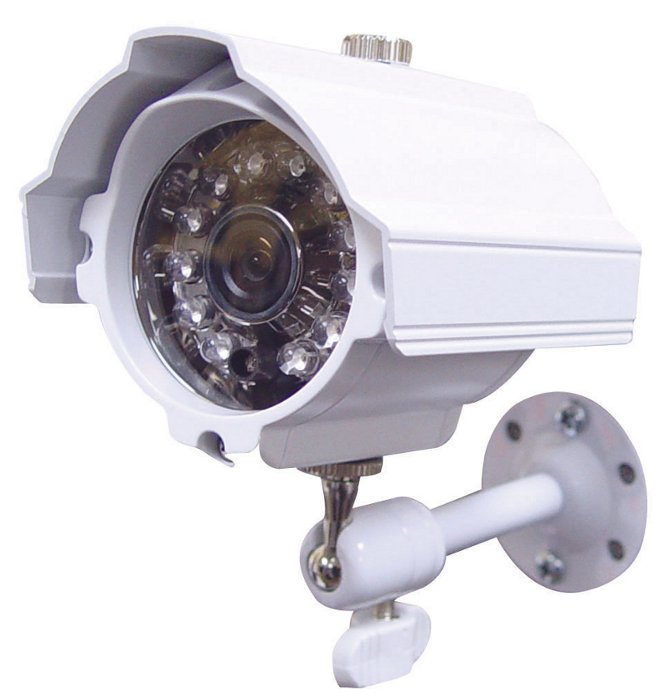 Weather Resistant Day-Night Color Security Camera with Built-In IR LEDS and 6mm Lens in White