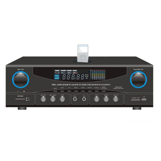 500W Stereo Receiver with USB/SD/iPod Docking Station