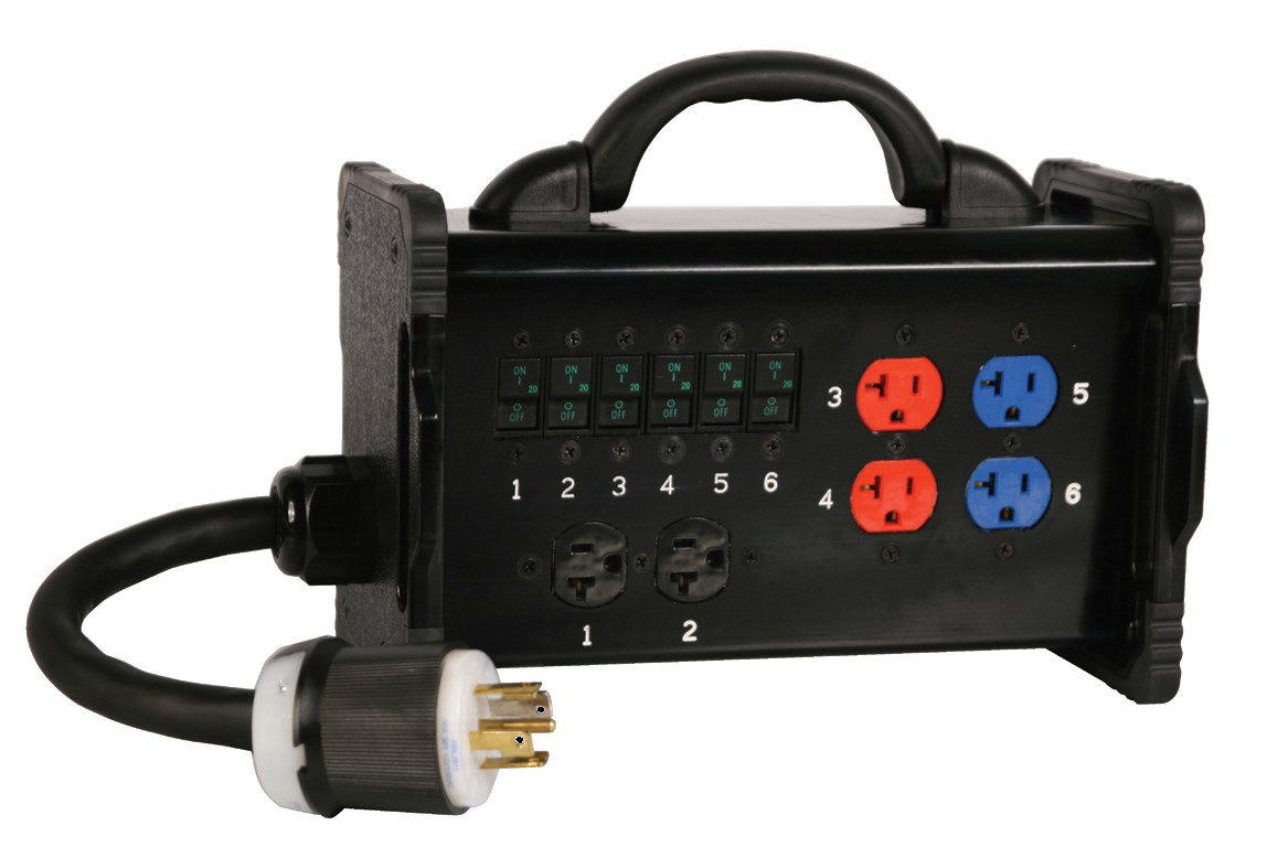 30 Amp 3 Phase Bento Box with Tail Input to (6) 20 Amp Circuits