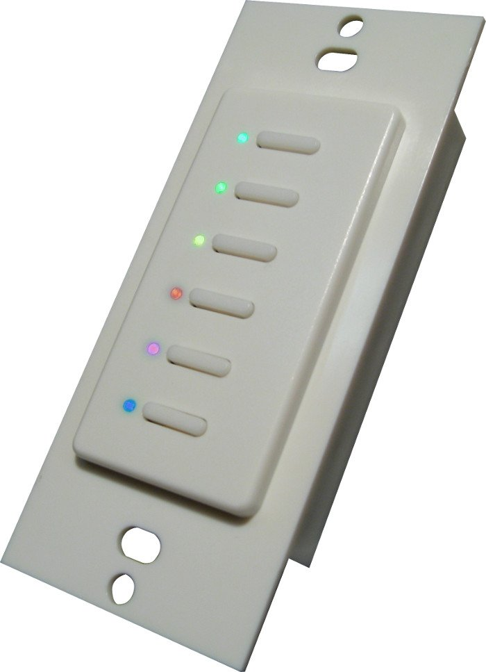 Ultra Series Digital 5-Wire 6 Button Station in White with Red LED Indicators