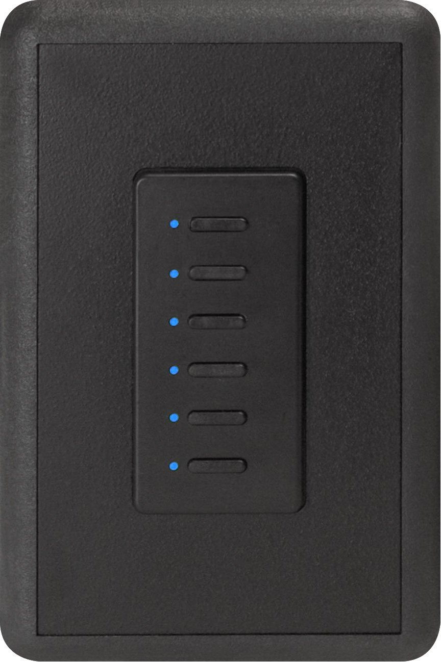 Ultra Series Digital 5-Wire 6 Button Station in Black with Blue LED Indicators