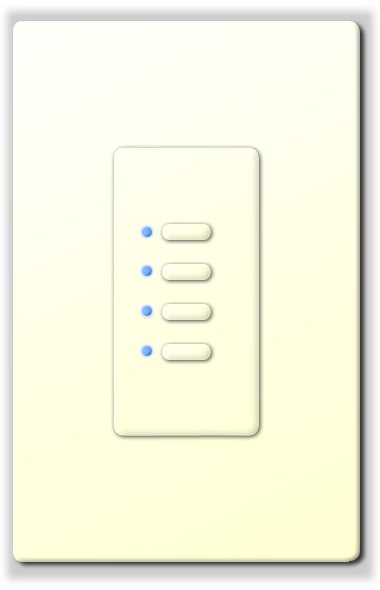 Ultra Series Digital 5-Wire 4 Button Station in White with Blue LED Indicators
