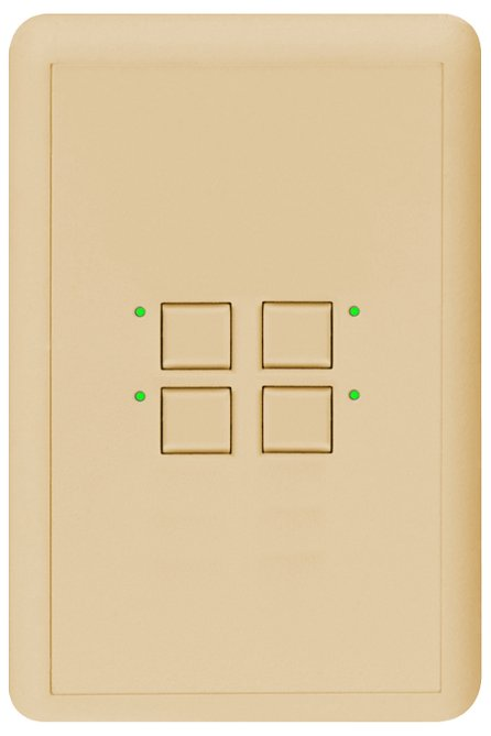 Mystique Series 2-Wire 4-Button CueStation in White with Blue LED Indicators