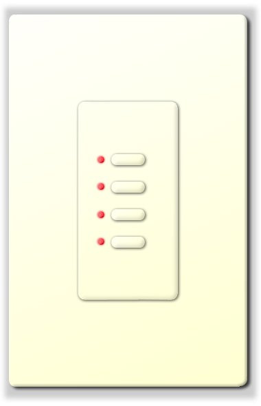 Ultra Series Digital 2-Wire 4 Button Station in White with Red LED Indicators