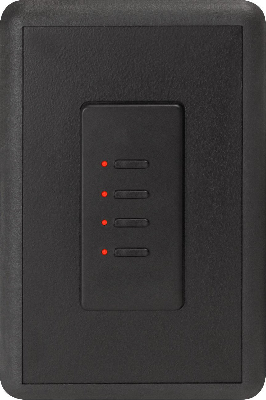 Ultra Series Digital 2-Wire 4 Button Station in Black with Red LED Indicators