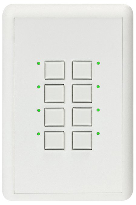 Mystique 5-Wire 8 Button Network Station in White with Blue LED Indicators