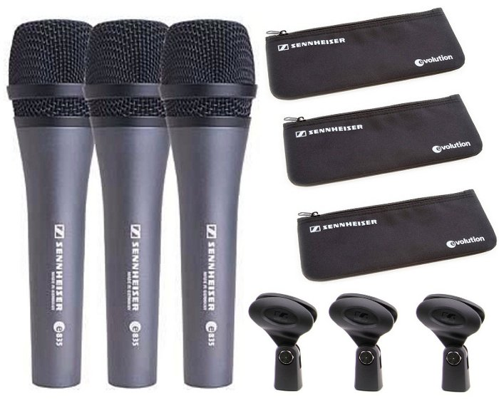 Pack of (3) e 835 Handheld Vocal Microphones with Carrying Pouches