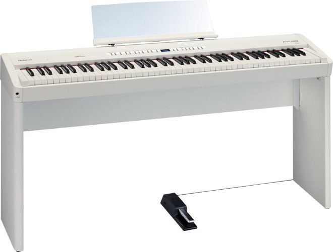 88-Key Digital Piano with Stand in White