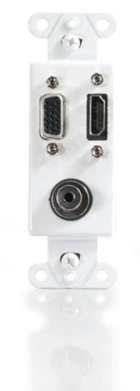 HDMI - VGA and 3.5mm Audio Pass Through Decora Style Wall Plate in White