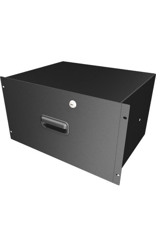 "6RU 13.75"" Locking Deep Rack Drawer in Black"