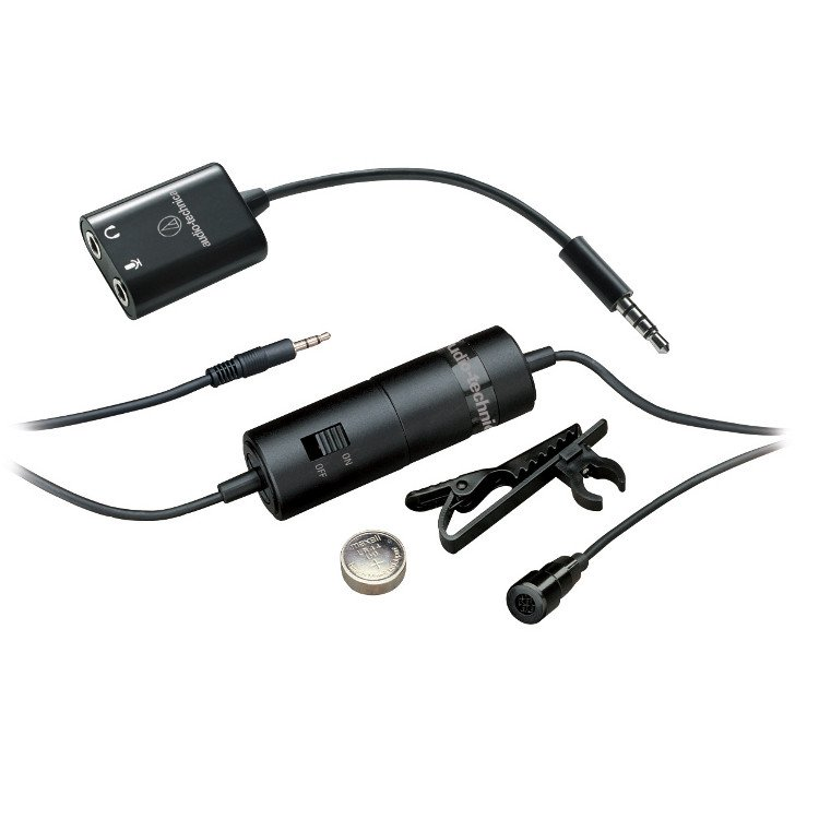 Audio-Technica ATR3350iS Omnidirectional Condenser Lavalier Microphone for Smartphones ATR3350-IS