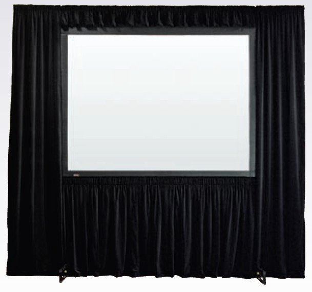 "90"" x 120"" Black Velour StageScreen Dress Kit with Case"